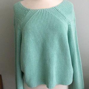 NWT TIBI Aqua Cotton Sweater L Spring Forward